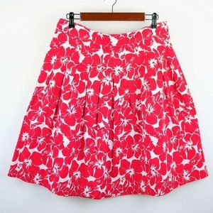 TALBOTS RED & WHITE FLORAL A LINE FLARED SKIRT